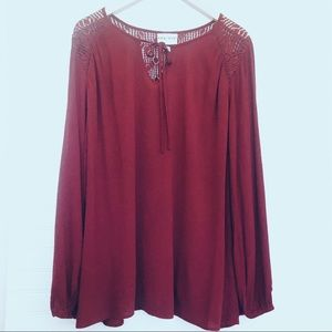 AVA & VIV Burgundy  Peasant Lace Shoulder Blouse